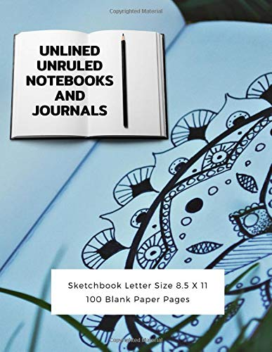 d8275eb403 Unlined Unruled Notebooks And Journals Sketchbook Letter Size 8.5 X 11 100  Blank Paper Pages:
