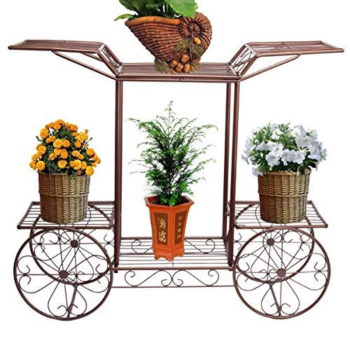 Pflanze Blume Stehen, Moderne Metall Blume Cart Rack Display Garten Baum Home Decor Patio Pflanze Ständer Halter Bronze Geeignet Für Outdoor Patio Porch Balkon Dekorative Regal ( Farbe : B ) -