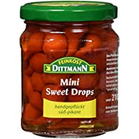 Feinkost Dittmann Mini Sweet Drops scharf und handgepflückt - Mini Pfefferonen rot Glas, 5er Pack (5 x 210 g)