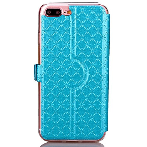 iPhone Case Cover PU-lederner Fenster-Fall-Rasterfeld-Gitter-Muster-Standplatz-Fall-Abdeckung mit Karten-Schlitz für iPhone 7 Plus ( Color : Purple , Size : IPhone 7 Plus ) Blue