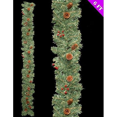 6ft Hermosa Guirnalda de bayas y pino de decoración de Navidad Decoración (DP105)