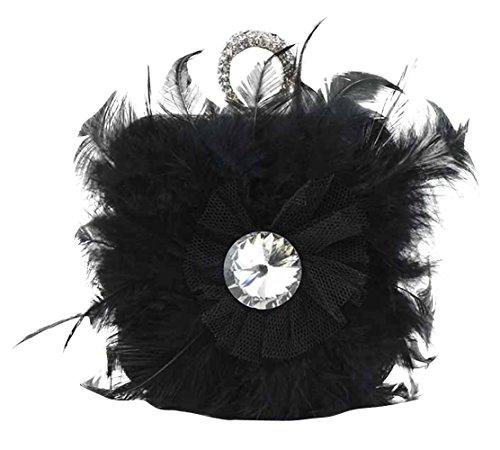 Chalmart Sac à Main Soirée Sac à épaule Style De Plume Vogue Banquet Noir