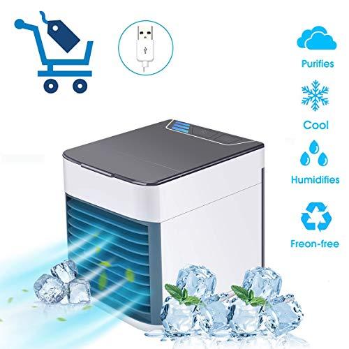 Climatiseur Portable Mini Climatiseur Mobile ICAMEL Refroidisseur D'Air Portable USB - Rafraichisseur D'Air Et Ventilateur/Climatiseur Humidificateur Purificateur 3 En 1