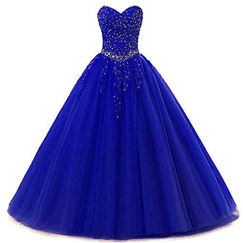 Zorayi Damen Liebsten Lang Tüll Formellen Abendkleid Ballkleid Festkleider Blau Größe 40