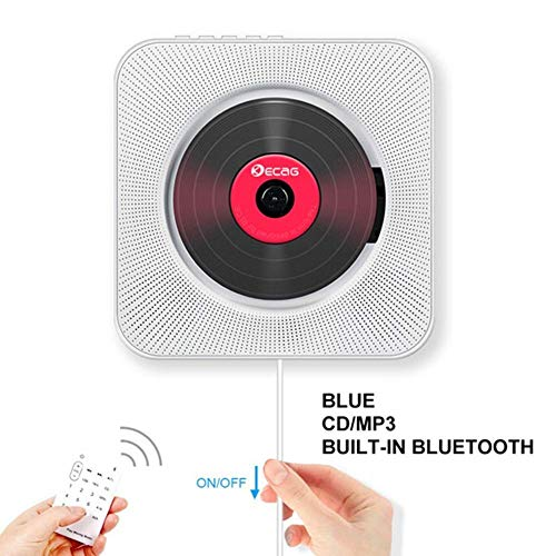 Bluetooth Portable CD Player, Chidi Toy Wall, Bluetooth CD Music Player mit HiFi Speaker Home Audio Speaker mit Remote FM Radio, MP3, 3.5mm Kopfhörer, AUX Input/Output (Weiß) (Mp3-cd-player Portable)