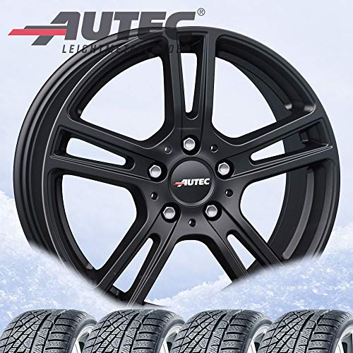 Autec Mugano Lot de 4 roues d'hiver pour Mercedes Benz E Noir mat 7,5 x 17 ET40 5 x 112 cm avec 225/55 R17 97H