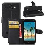 LG K3 (2017) Handyhülle Book Case LG K3 (2017) Hülle Klapphülle Tasche im Retro Wallet Design mit Praktischer Aufstellfunktion - Etui Schwarz