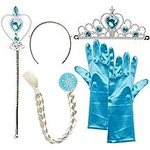 Katara - Accesorios de disfraz de Elsa princesa del Hielo - conjunto de guantes, tiara, varita mágica y trenza para niñas de 2 - 9 años - azul claro