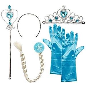 Katara - Accesorios de Cenicienta para niñas de 2-9 años, set de 4 pcs - trenza, tiara, varita y guantes, azul (1696)