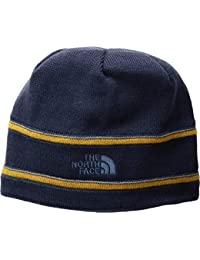aa405417ffe the north face youth tnf logo beanie - cosmic blue   golden brown   shady  blue