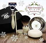 Vintage Afeitado Kit Regalo para hombre(Gillette Fusion Cuchilla,Cepillo,Cuenco,Soporte)Caja Marca