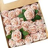 ACDE Fleurs Artificielles, Roses Artificielle 25PCS Mousse Rose Faux Regard Réel avec Feuille et Tige Ajustable pour DIY Mariage Bouquets Mariée Fête Accueil Décorations (Champagne Rose)