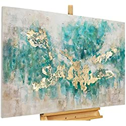 KunstLoft® Acryl Gemälde 'Consciousness' 120x80cm | original handgemalte Leinwand Bilder XXL | Abstrakt Beige Blau Petrol Modern | Wandbild Acrylbild moderne Kunst einteilig mit Rahmen