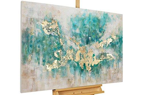 KunstLoft® Acryl Gemälde 'Consciousness' 120x80cm | original handgemalte Leinwand Bilder XXL | Abstrakt Beige Blau Petrol Modern Küche Schlafzimmer | Wandbild Acrylbild Moderne Kunst einteilig