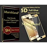 Marshland 5D Full Glue 9H Hardness 0.33mm Thickness 2.5D Round Edge Tempered Glass Screen Protector for Samsung Galaxy A9 Pro (Golden)