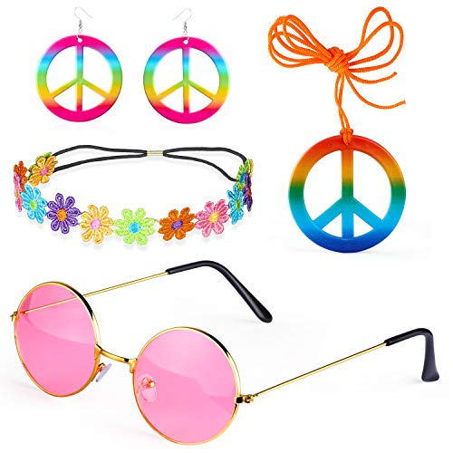 Beefunny 4 Stück Hippie Kostüm Dressing 60er Jahre Accessoires Set Friedenszeichen Halskette Blume Krone Stirnband Hippie Sonnenbrille und Ohrringe (A)