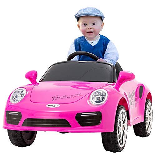 UEnjoy Kinderauto Elektronisch 6V Kinderfahrzeug Elektro mit Fernbedienung, LED Leuchten,Musik für Kinder,Rosa*