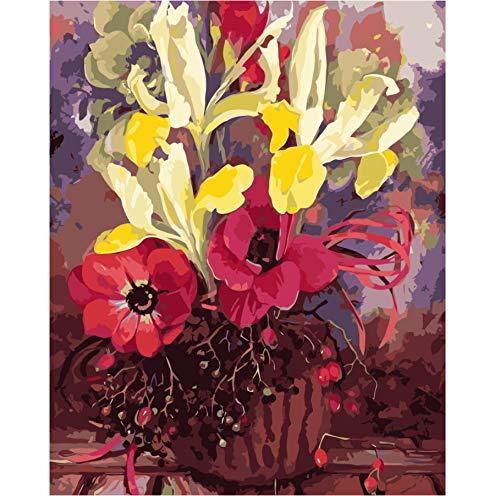 Malen Nach Zahlen Mohn Stillleben Auf Leinwand Diy Öl Europa Dekoration Blumen Leinwand Malerei Für Wohnzimmer - Mohn-Öl