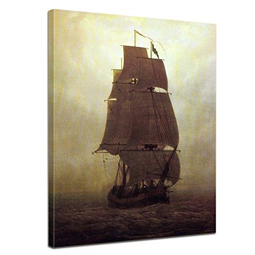 Leinwandbild Caspar David Friedrich Segelschiff - 30x40cm hochkant - Wandbild Alte Meister Kunstdruck Bild auf Leinwand Berühmte Gemälde