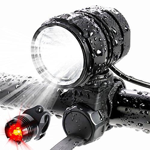 ADAMITA USB aufladbare LED Fahrrad Scheinwerfer, 1200 Lumen wasserdichte Vorder- und Rückseite Fahrradbeleuchtung, 4 Beleuchtungs Modi mit 4400 mAh Batterie Sicherheit Fahrradlicht