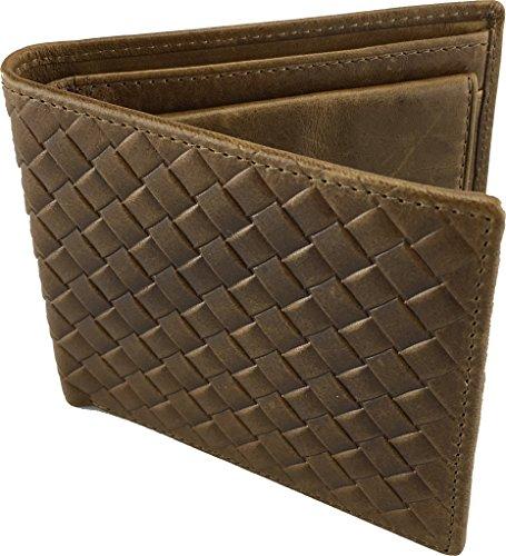 Wildman Herren Geldbörse mit Münzfach, Slimline, Stilvoll, Münzen-Halter, Bifold, 6 Kreditkarten & 2 Banknotenhalter, Komplett-Luxus mit Premium Soft Leder, bequem zu halten, macht das perfekte Geschenk, (Münze Stud)