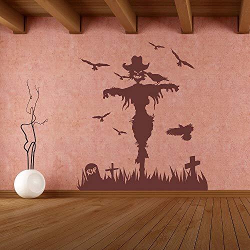yiyitop Hexe Vögel Friedhof Wandaufkleber für Wohnzimmer Hintergrund Halloween Urlaub Abnehmbare Wandtattoos Windows Art Aufkleber 42 * 48 cm (Machen Sie Einen Halloween-friedhof)
