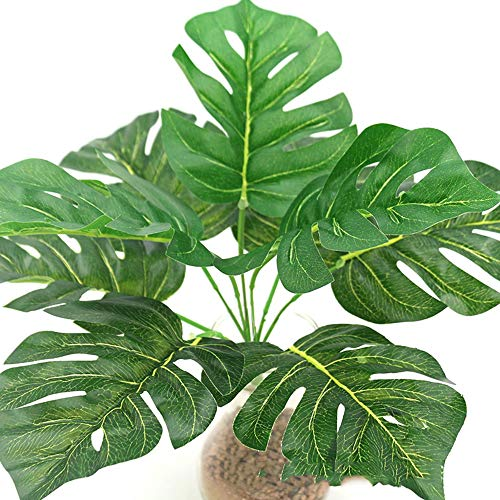 YMCHE Künstliche gefälschte lebensechte Simulation tropische Palmblätter, künstliche Imitat-Palmen-Grün-Baum-Blatt-tropische Betriebsimitat-Blätter für Hauptbad-Büro