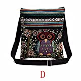 Fashion Embroidered Owl Tote Bags Women Shoulder Bag Handbags Postman Package by Kolylong (D)