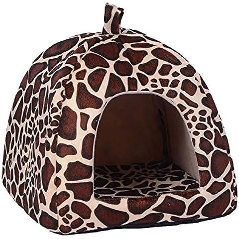 Pet Gatto di Casa Pieghevole Morbido Inverno Leopardo Cave Casa Del Cane Base Del Cane Fragola Carino Cuccia Nido Cane In Pile Gatto Letto (XL, Leopardo)