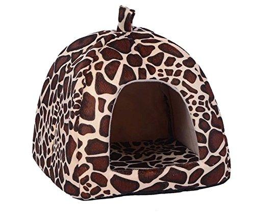 Gato Mascota Cama Del Perro de la Fresa Plegable Suave Invierno Leopardo Cueva Casa de Perro Lindo Perrera Nido Gato Cama Del Perro de Lana (Leopardo, M)