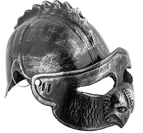 Faschingsfete Ritterrüstung Kostüm Visier verstellbar Drache Ritter Helm Kämpfer, Dunkelgrau (Viktorianischen Diener Kostüme)