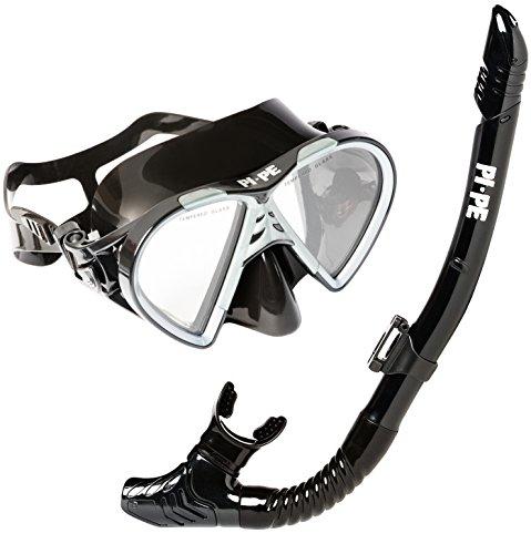 PI-PE Taucherbrille & Schnorchel Set Active Black