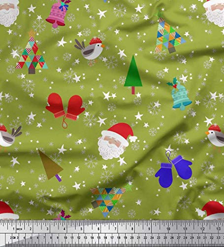 Benutzerdefinierte Winter-handschuhe (Soimoi Grun Rayon Krepp Stoff Schneeflocke, Baum & Handschuhe Winter-Thema Stoff drucken 1 Meter 46 Zoll breit)