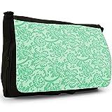 Blumentapete Design Mintgrün Große Messenger- / Laptop- / Schultasche Schultertasche aus schwarzem Canvas