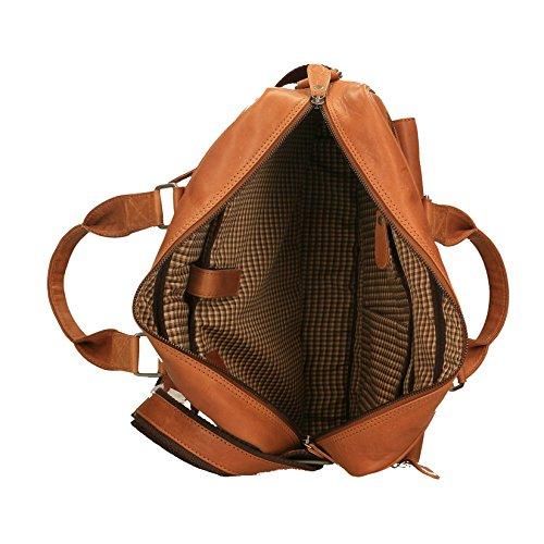 Chicca Borse Luxury Aktentasche Unisex-Umhängetasche mit Griff aus echtem Leder - 40x30x10 cm Bräunen