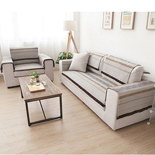 HM&DX Baumwolle Sofa abdeckung Für sektionaltore couch,Gestreifte quaste trimmen Anti-rutsch Sofa Überwurf Sofa throw Für wohnzimmer -grau 90x210cm(35x83inch)