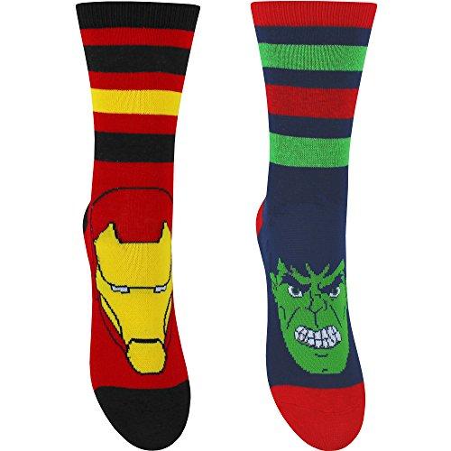 The Avengers Jungen Socken Gr. 27 Schuh 9-12 (EU -30), Red & Navy Iron Man & Hulk (Hulk Neon)