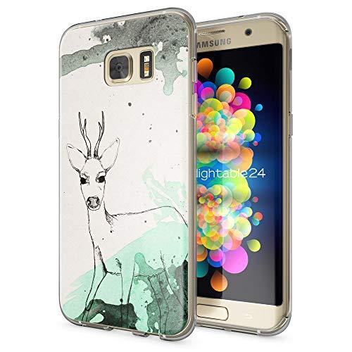 galaxy s 7 edge huelle NALIA Handyhülle für Samsung Galaxy S7 Edge, Slim Silikon Motiv Case Hülle Cover Crystal Schutzhülle Dünn Durchsichtig, Etui Handy-Tasche Backcover Transparent Bumper, Designs:Deer