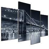 Kunstdruck - New York Bridge III - Bild auf Leinwand - 120x80 cm 4 teilig - Leinwandbilder - Bilder als Leinwanddruck - Wandbild von Bilderdepot24 - Städte & Kulturen - USA - Amerika - Brooklyn Bridge schwarz weiß
