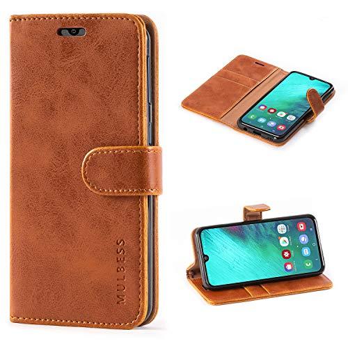 Mulbess Handyhülle Samsung Galaxy A40 Hülle Leder, [Ledertasche mit BookStyle] Flip Case Tasche Etui Schutzhülle für Samsung A40 Hülle Leder, Cognac Braun