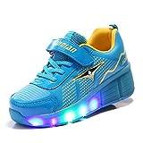 Skybird-UK Luces LED Coloridos Parpadeante Zapatos de Skate Zapatillas Calzado Deportes de Exterior Neutra Cordones Gimnástico Sneakers para Niñas Niño Pequeños