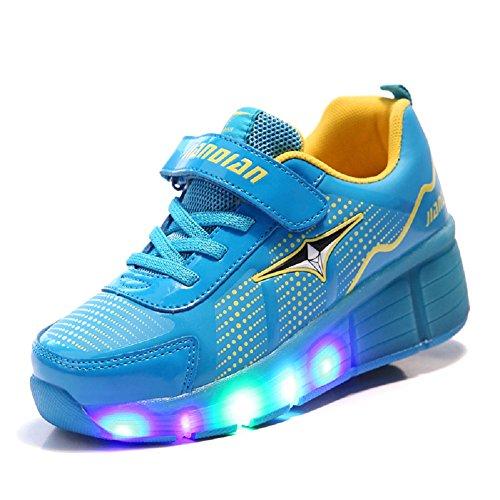 Luckly Grace Kinder Junge Mädchen LED Schuhe mit Rollen Skateboard Rollschuhe Sport Outdoorschuhe Sneaker (33 EU, Blau + - 2017 Gelbe Halloween-party