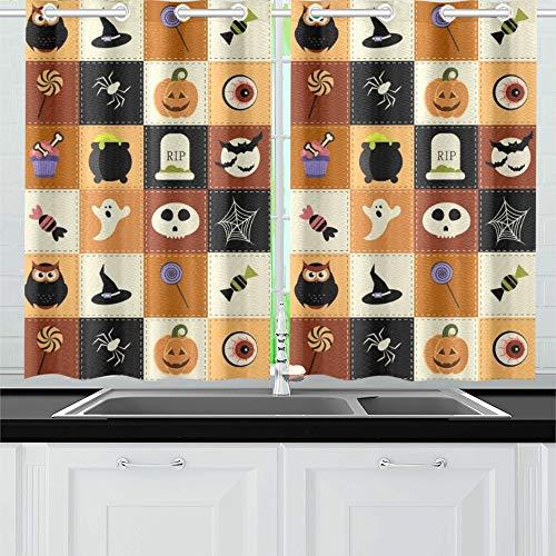 JIUCHUAN Halloween Elements Raster Version Küchenvorhänge Fenstervorhangebenen für Café, Bad, Wäscherei, Wohnzimmer Schlafzimmer 26 x 39 Zoll 2 Stück (Boo Halloween-kostüm Für Erwachsene)