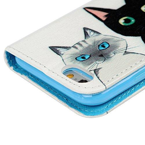 iPhone 6/iPhone 6S(4.7 pouces) Smartphone Etui à Rabat - YOKIRIN Case Cover Couverture de PU Cuir Support Carte Slots avec Languette Magnétique Housse de Protection - Trois Chats Trois Chats