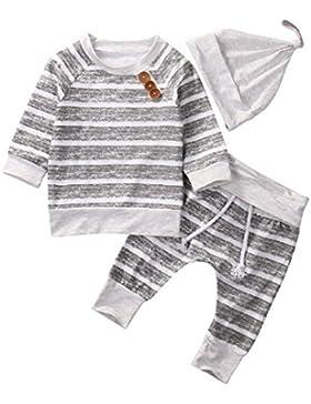 Maruxiong 2019 Neugeborenes Baby Boy Kleidung Sets Strampler Gestreifte Oberteile T-Shirt Hose Hut Outfit Baumwolle...