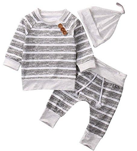 Newborn Baby Boy Strampler Star Bekleidungssets Hosen-Tops-Hut Niedlich Overall Romper Outfit Bodysuit  (3-6 Monate/70, Grau) (Baby Jungen Kleidung 0-3 Monate)