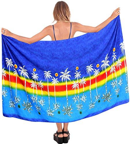 Rock Badeanzug einpacken Damebadebekleidung Sarong Bademode Pareo hawaiische Frauen Vertuschung Badeanzug Blau