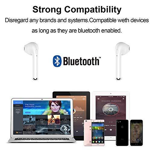 Auriculares Bluetooth V5.0,  Auriculares intraurales con Caja de Carga portátil,  súper estéreo,  Auriculares intraurales Bluetooth,  compatibles con Todos los Dispositivos Inteligentes (White)