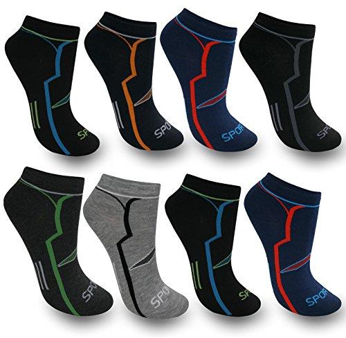 Bestsale247, 12paia di calze da uomo, calzini sport e tempo libero, gambaletti, fantasmini, cotone, 39-42, 43-46, fantasia 1, 39-42