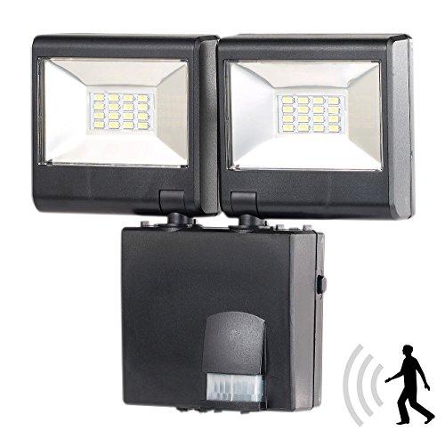 Luminea Außenbeleuchtung: Duo-LED-Außenstrahler mit PIR-Sensor, 16 Watt, 1.280 lm, IP44 (Aussenlampe mit Bewegungsmelder) -
